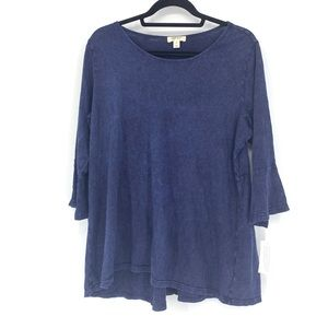 Style & Co Sz 0X Knit Blouse Blue Bell Sleeve